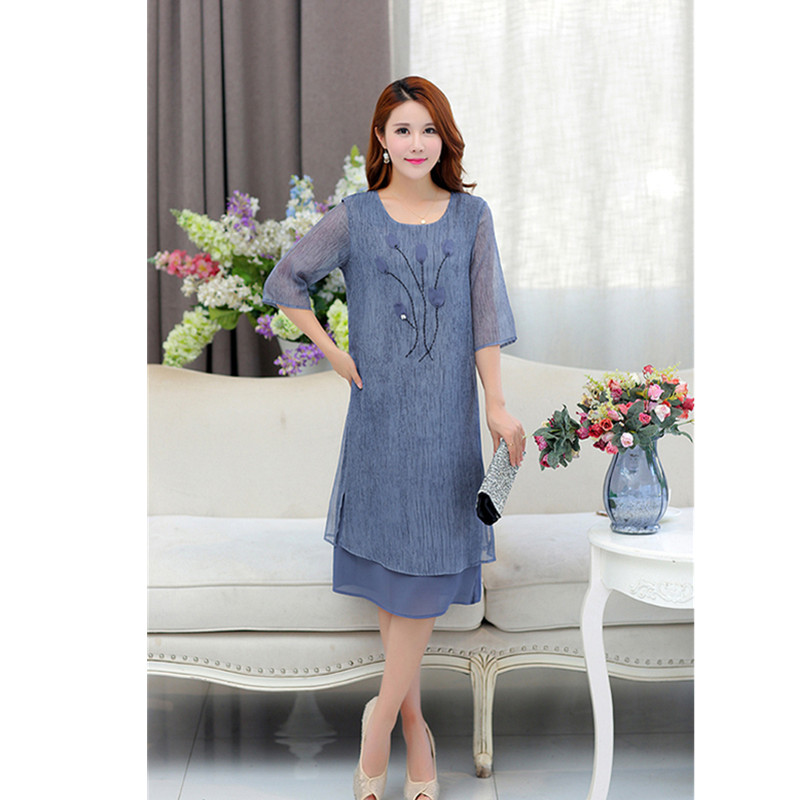 YAGENZ Middle-aged Ladies Summer Net Yarn Dress Plus size XL-5XL Fashion New Round Neck Elegant Women Loose Dress Casual Clothe