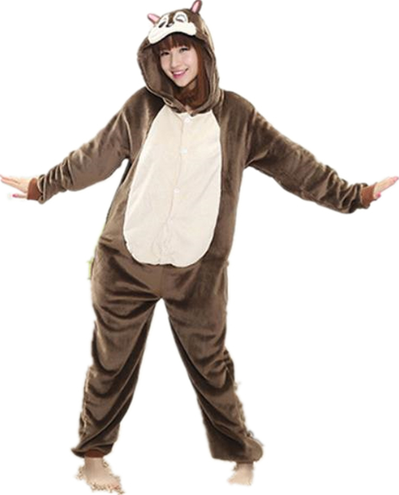 Flannel Squirrel Cosplay Onesie Chipmunks Romper Jumpsuit Cartoon Animal Costume Adult O ...