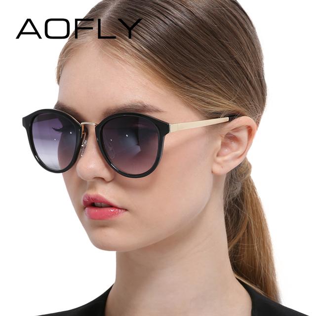 Aofly vintage cat eye sunglasses mulheres óculos de sol da moda armação de metal pernas liga retro óculos de marca de grife oculos uv400