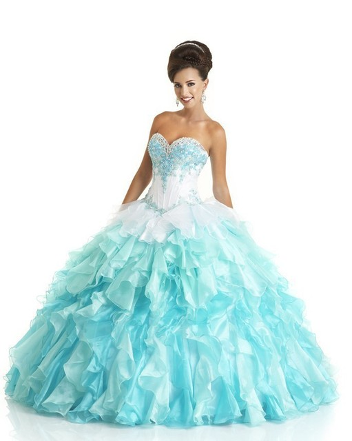 92729ed8ef Fashion Sweetheart Quinceanera Dresses Blue And White Custom-made Beading  Sleeveless 15 birthday Ball Gown Dress For 15 Years