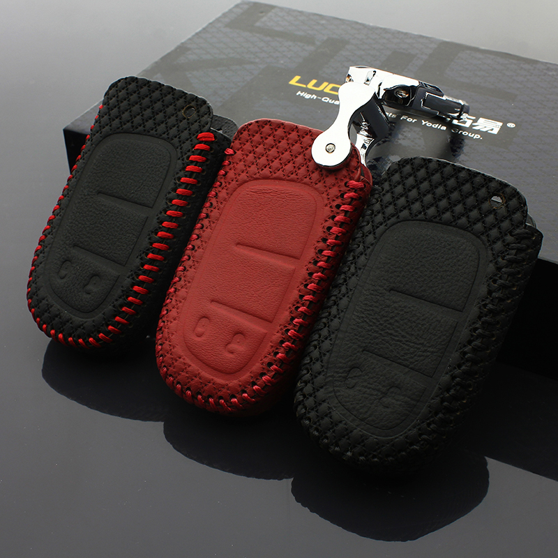 car key chain cover fordodge JCUV 2013 2016 fiat Freemont 2016 jeep Cherokee GrandCherok 2016 leather case wallet holder