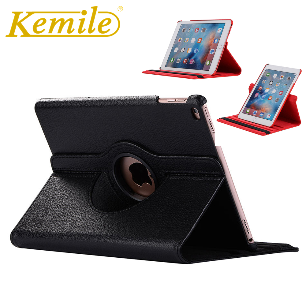 Kemile For iPad 2018 9.7 Case 360 Degree Rotating PU Leather Auto Sleep Wake Up Stand Case For New iPad 2017 2018 9.7 inch Case