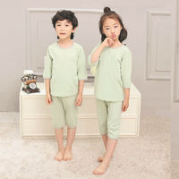 Good Quality Kids Unisex Knitting Pajamas Sets Baby Boys Girls Combed Cotton Underwear Sets T-shirt+Pants Suits Soft Sleepwear