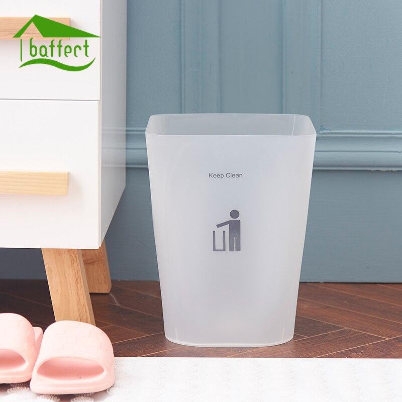 Baffect Square Shape PP Wastebasket Without Lid Trash Bin Paper Basket Garbage Trash Can Dustbin Holder Large Capacity