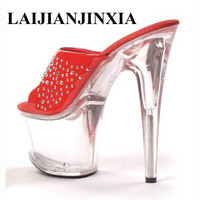 LAIJIANJINXIA 17 cm high heels and sexy shoes stage crystal high heeled sandals night high heel Dance Shoes G 087
