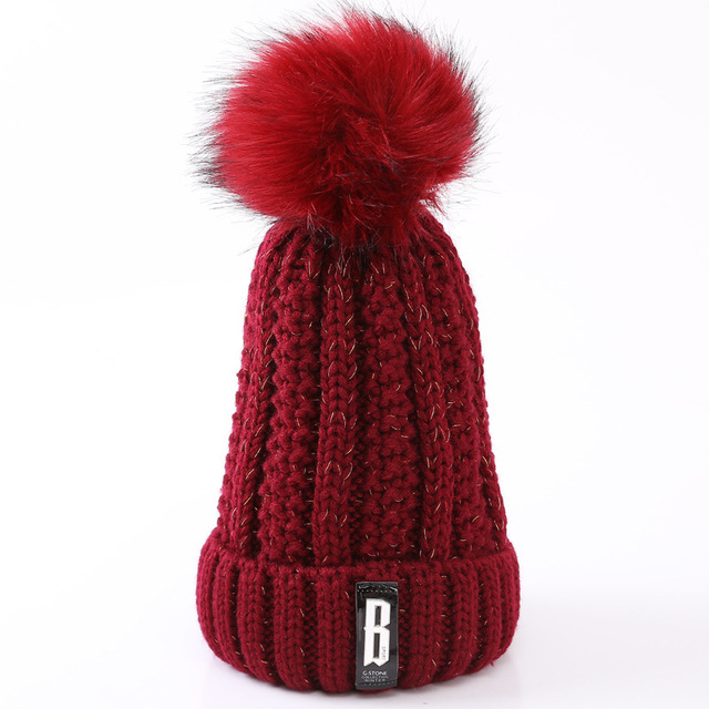 2018 Hot Fashion Skullies Beanies Winter Hats For Women Brand Knitting Warm Cap Female Pompoms Ball Thick Hat