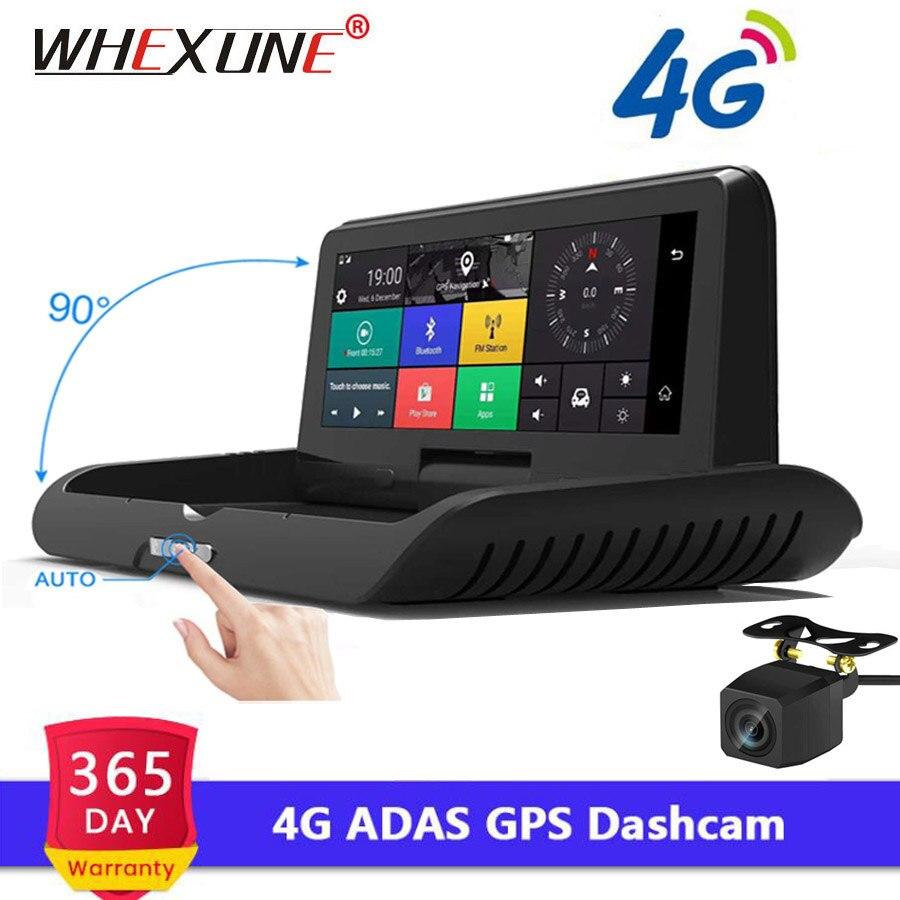 WHEXUNE 8 polegada 4G Android Full HD 1080 P Carro dvr carro Câmera GPS Navigator ADAS Noite de Lente Dupla visão Gravador De Vídeo auto DashCam