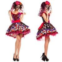 Skeleton Day Of The Dead Costume Women S Sexy Sugar Skull Dia Flower Fairy Halloween Ghost