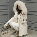 Long Sleeve Autumn Winter Jacket Women Wool Coat 2016 Fashion Fur Collar Mid-Long Female Hooded Outwear Casaco Feminino GQ1645