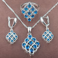 Unique Blue Stone Cubic Zirconia Women's Stamped 925 Silver Jewelry Sets Necklace Pendant Earrings Rings Free Shipping TZ076
