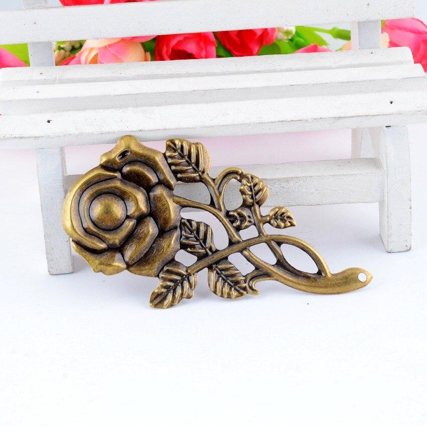 MIAOCHI 4Pcs Antique Bronze Filigree Rose Flower Connectors Embellishment Gift Decoration DIY Findings 7.7x4.2cm F0466