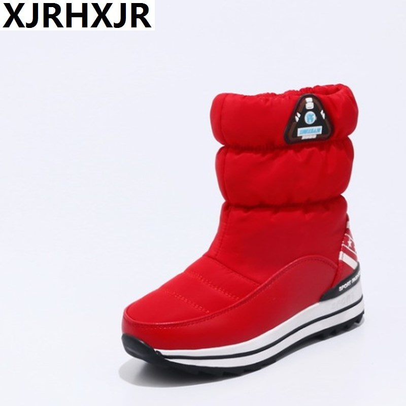 XJRHXJR New Women Fashion Plush Flat Platform Snow Boots Winter Warm Shoes Mid Calf Waterproof Boots Shoes Woman Size 31-40