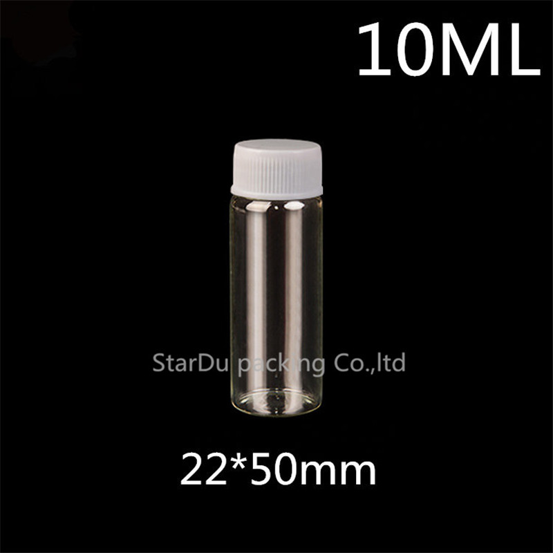 Free shipping 20pcs/lot diameter 22mm 10ml  glass bottle Plastic cap for vinegar alcohol, carft/storage candy bottles