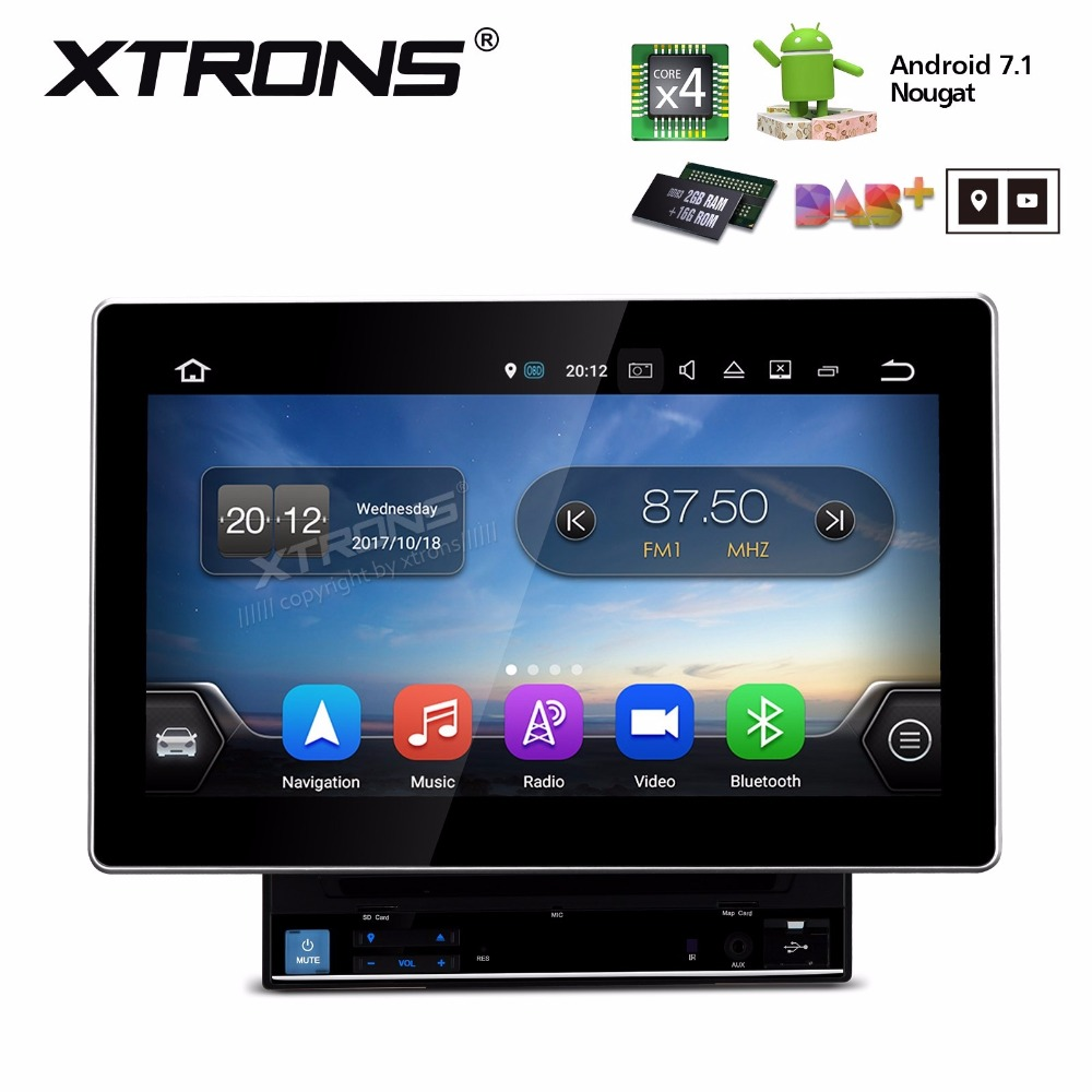 10.1 Android 7.1 Nougat Double Din Car DVD 2 Din Car Multimedia Radio Two Din Navigation GPS DAB with Adjustable Screen Angles image