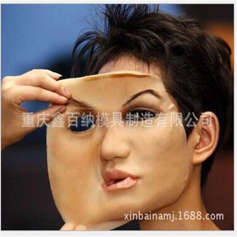 Masque de peau humaine réaliste déguisement auto masques avec faux cils Latex drôle masque effrayant halloween mascaras maske silicone jouet