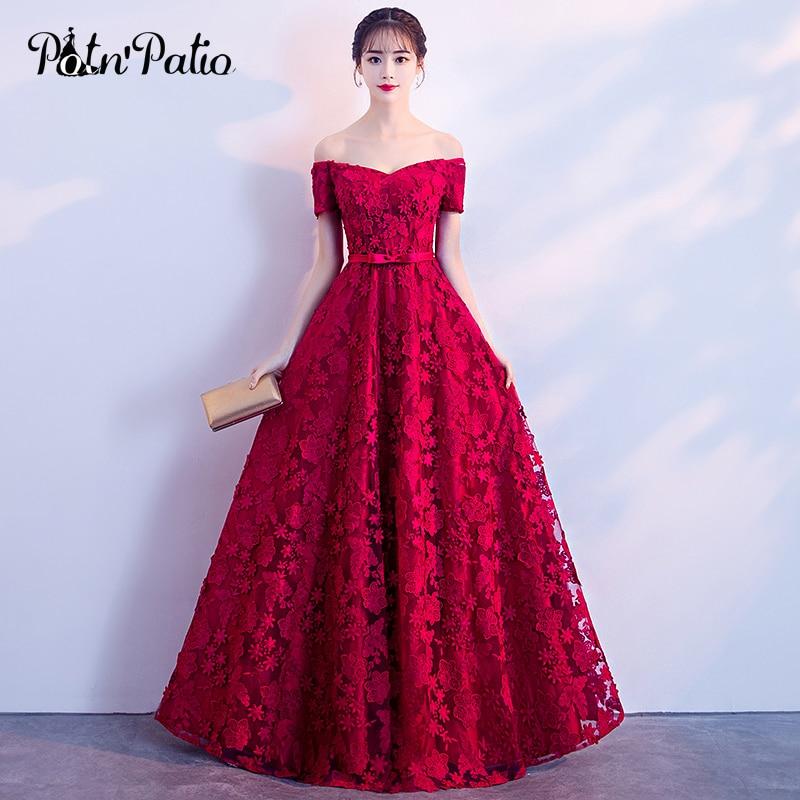 Elegant Red Evening Dresses Long Boat Neck Off The Shoulder Floor-Length Lace Formal Dresses For Women Evening Gowns Plus Size