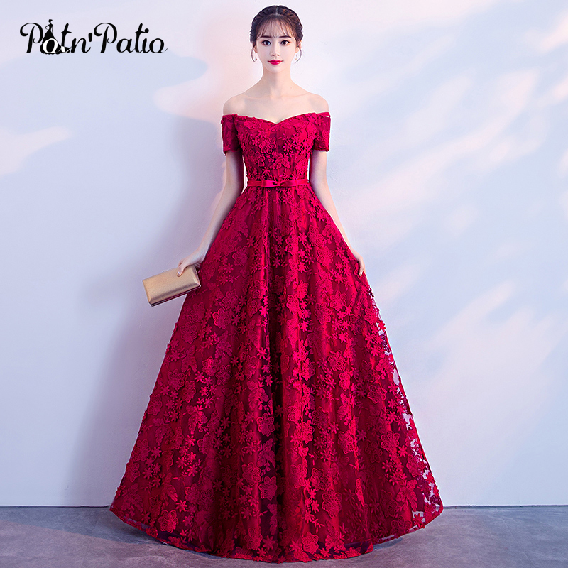 Wine Red Lace Evening Dresses Long 2018 Elegant Boat Neck Off The ...