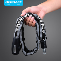 DEROACE Bicycle Lock Anti Theft Chain Lock Reflective Cloth Sets Shearing Lights Keys Bicycle Locks Motorcycle Locks For Bicycle