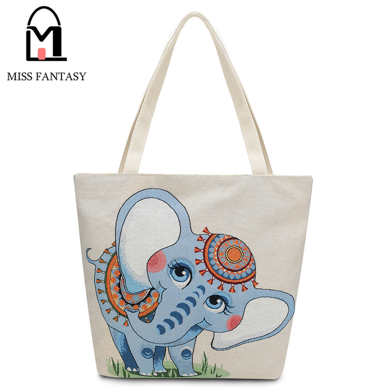 Women Bag Canvas Female Shoulder Summer For S Beach Bohemia Style Embroidery Elephant National Designers 2017 In Bags From Luggage