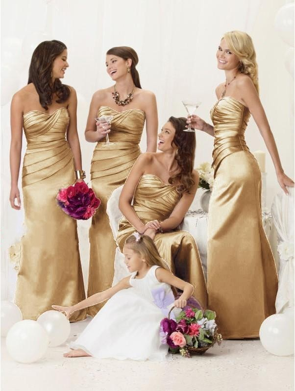 Online Buy Wholesale bridesmaid dresses gold champagne from China ...