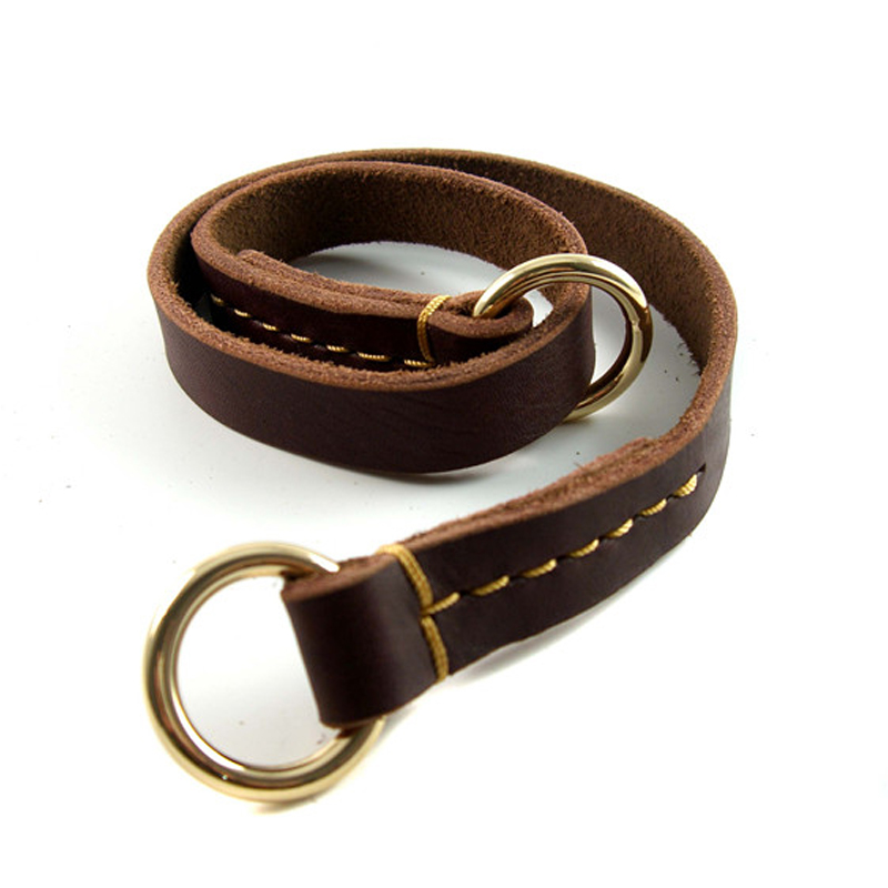 Brown Genuine Leather P Choke Walking & Training Slip Dog Collars Neck for 27 inch