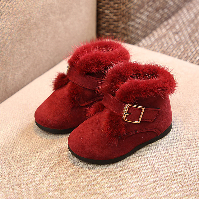 2018 new winter children Martin boots girls fashion warm cotton shoes girls Rabbit's hair snow boots Super soft and comfortable Girl's Shoes