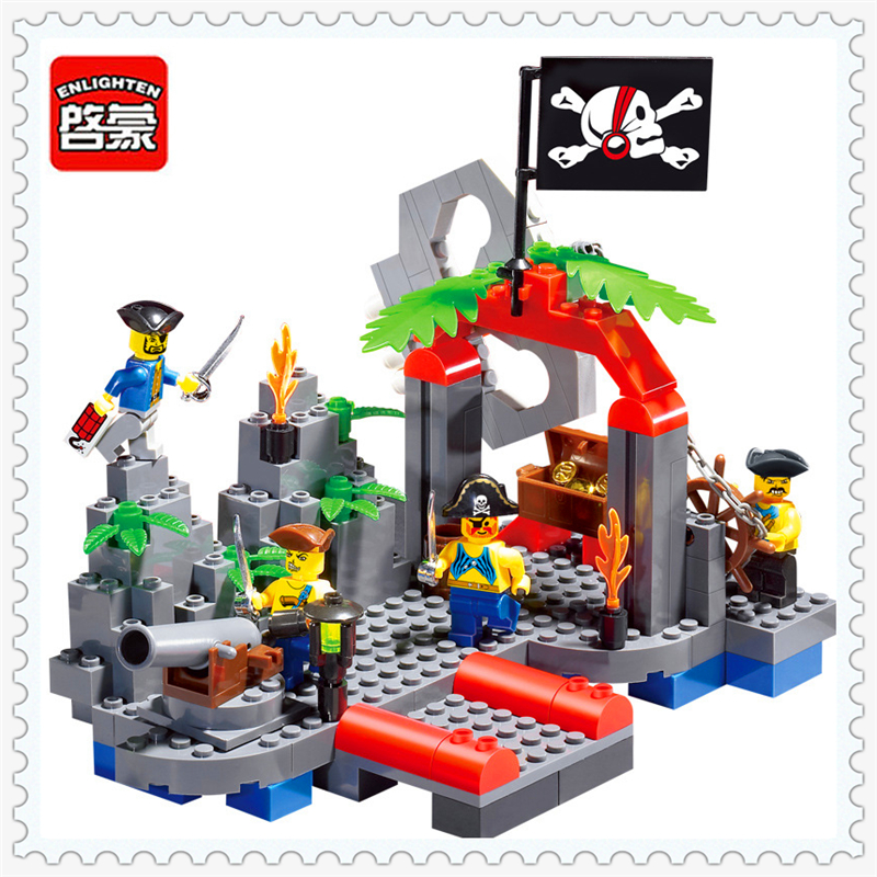 ENLIGHTEN 309 Pirates Skull Kiosk Model Building Block 206Pcs Educational  Toys For Children Compatible Legoe 0367 sluban 678pcs city series international airport model building blocks enlighten figure toys for children compatible legoe