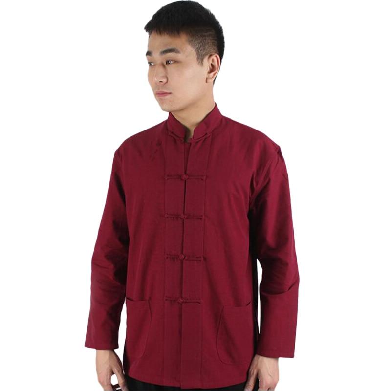 Men Chinese Traditional Tang Jacket Wu Shu Tai Chi Clothing Shaolin Kung Fu Wing Shirt Long Sleeves Exercises Costume Spring