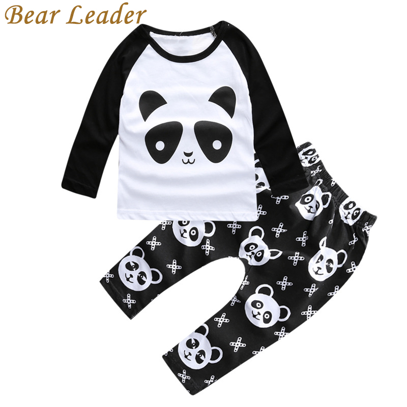 Bear Leader Panda Pattern Baby Clothing Sets Autumn Long Sleeve T-shirts+Pants For Infant Girls Lovely Cartoon Clothes Suits Kid bear leader baby boys girls sets 2017 autumn baby clothing sets house applique sweatshirt striped pants 2pcs for baby clothes