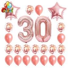 24 teile/satz 16 21 30 40 50 60th Glücklich Geburtstag Rose Gold Star Konfetti 40inch Anzahl Folien Ballon Geburtstag party Decor Liefert