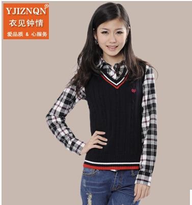 Free shipping women's cotton sweater female British college ...