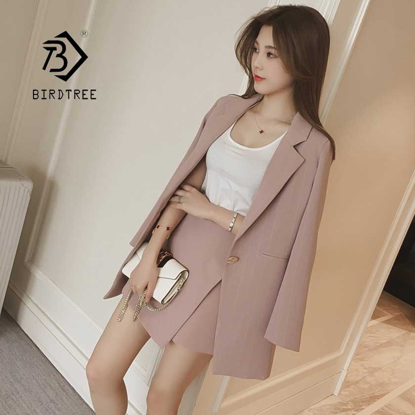 Fashion 2019 Women Skirt Suits Single Button Notched Striped Blazer Jackets Slim Mini Skirts Two Pieces Sets OL Female  S95515Z