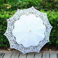 Fashion Lace Sun Umbrella 10 Parasol Bride Umbrella White Ivory Wedding Umbrella Ombrelle Dentelle Parapluie Mariage New Arrival