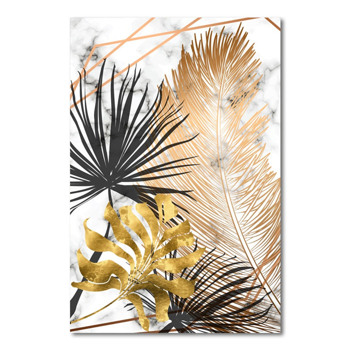 HTB1QfQhXpY7gK0jSZKzq6yikpXa2 Scandinavian Style Poster Marble Golden Leaf Art Plant Abstract Painting Living Room Decoration Pictures Nordic Decoration