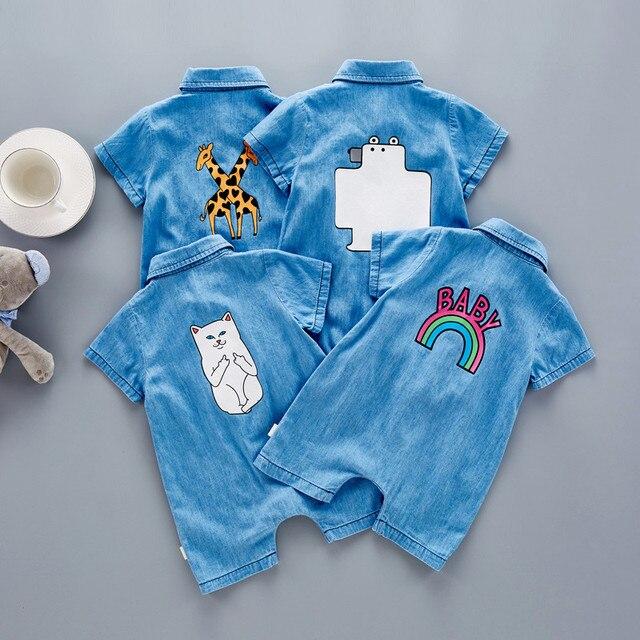 87db5cef2d2c 2017 Baby Romper Soft Denim Infant Clothes Newborn giraffe Cat Jumpsuit  Babies Boy Girls Costume Cowboy Fashion Jeans Children