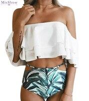 MisShow High Waist Swimsuit 2017 Sexy Bikinis Women Swimwear Ruffle Vintage Bandeau Striped Bottom Bikini Set