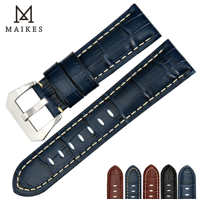 MAIKES 22mm 24mm 26mm watchbands blue genuine leather watch band strap watch accessories watch bracelet stainless steel buckle eache 20mm 22mm 24mm 26mm genuine leather watch band crazy horse leather strap for p watch hand made with black buckles