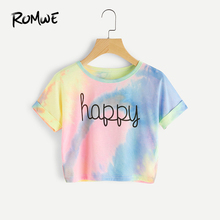 ROMWE Happy Rainbow Pastel Tie Dye T-Shirt,Women Letter Print Tee,Beach-to-Bar,Night Club Party Short Crop T-shirts,2019 Summer