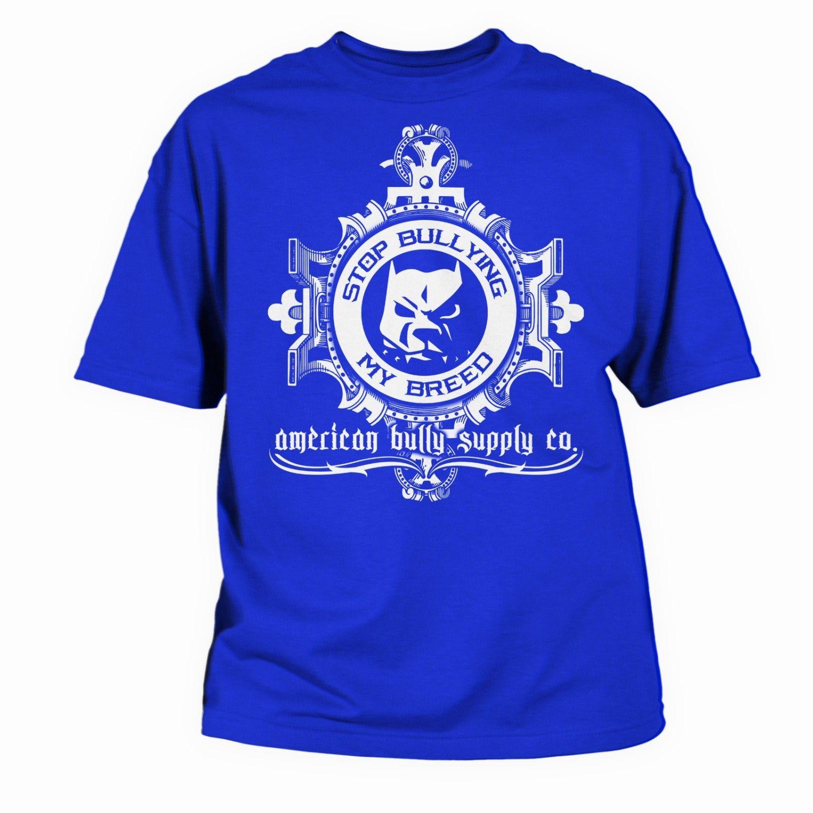 Остановить издевательства мои породы синий питбуль футболка от SM через 5x Лето Новая мода для футболка с короткими рукавами футболки