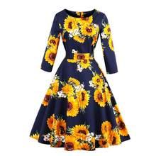 4b2a1bb1d Vestido Vintage de moda para mujer con estampado Floral de tres cuartos de  manga vestido de patrón de girasol