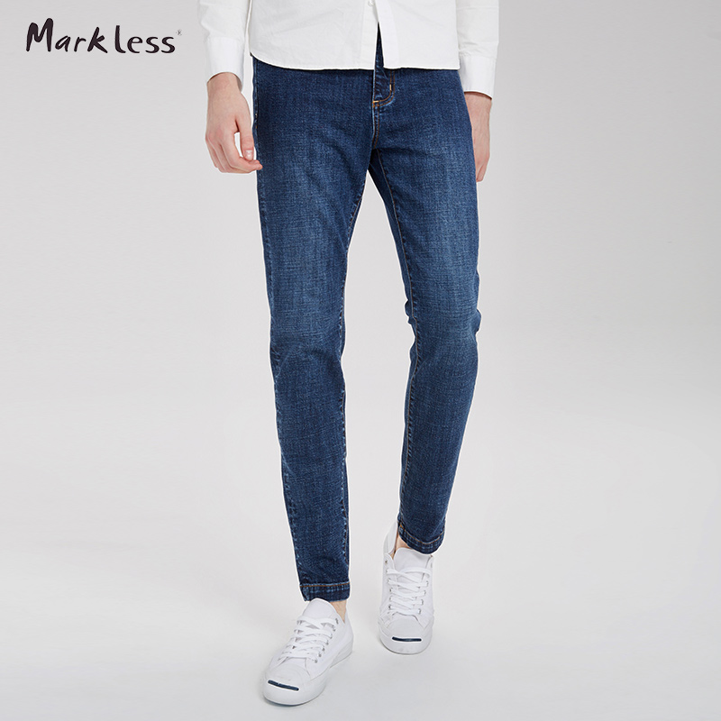 ФОТО Markless New Men Slim Jeans Blue Color Male Pencil Pants Men's Casual Jeans Trousers 2017 Spring Free Shipping