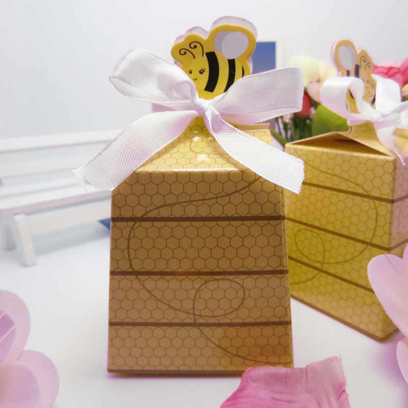 50/100 pcs Grande Abelha Estilo Europeu Favores Caixas de Biscoito de Chocolate Doces Drágea Casamento Mariage Deco Caixa de Presente com fita branca