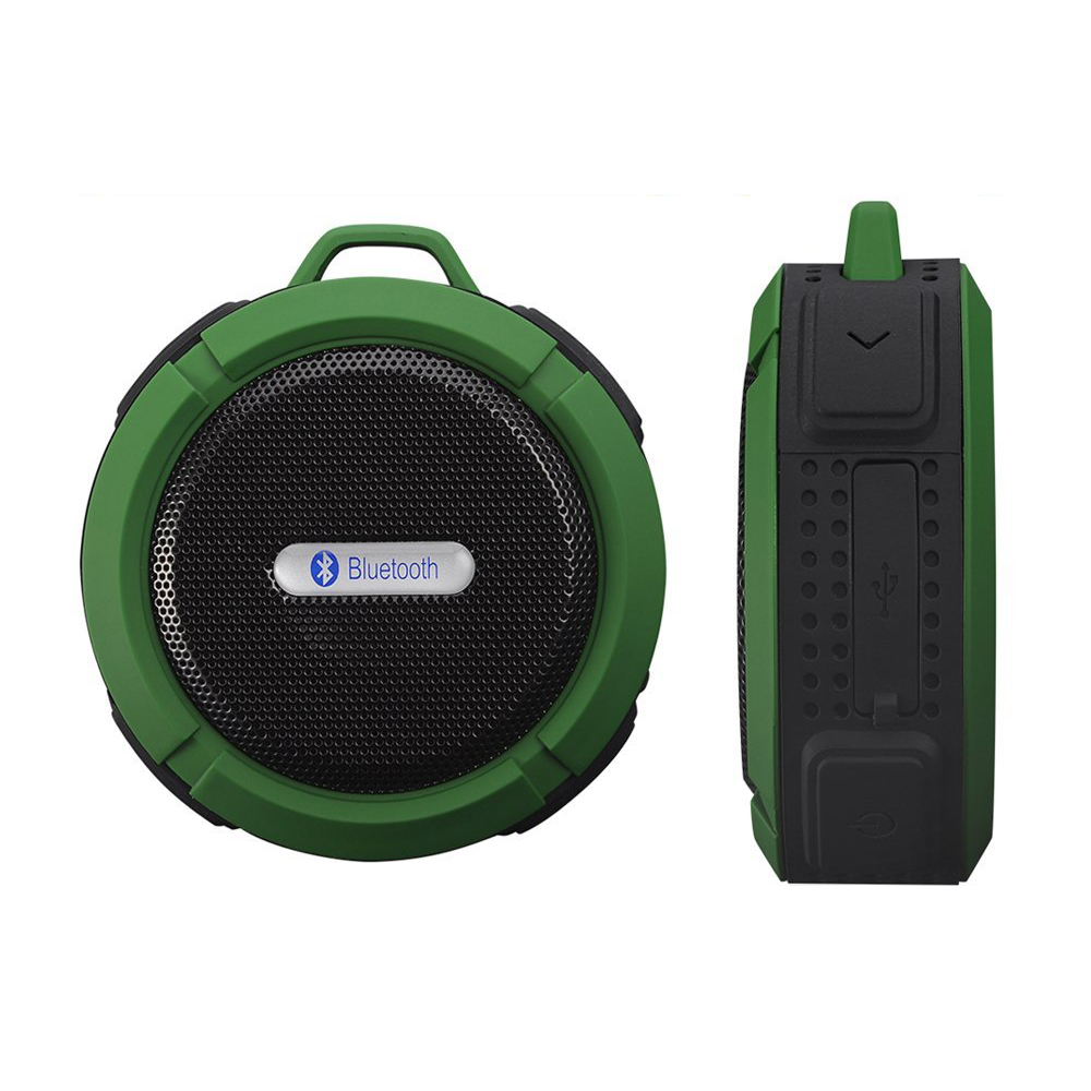 Mini Speaker Wireless Waterproof Bluetooth V3.0 Rechargeable 5W for Shower Swimming Pool Car, Office or Camping- Green/Red