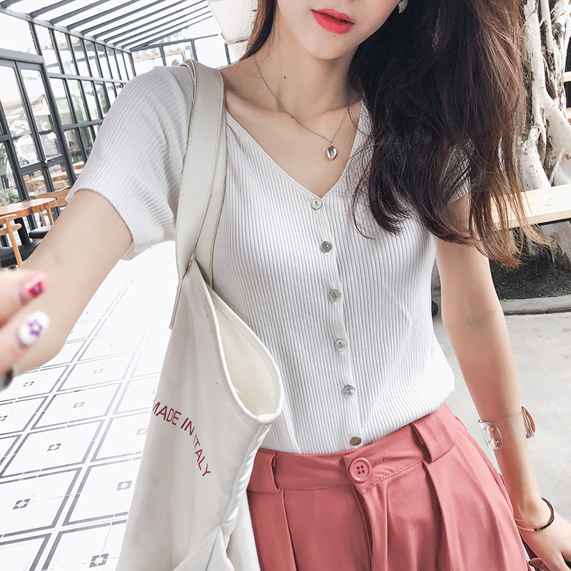 Mishow Women Tops 2019 Summer New Fashion Knitted casual tee Slim Single Breasted short Sleeve solid V Neck T-shirt MX19B5228