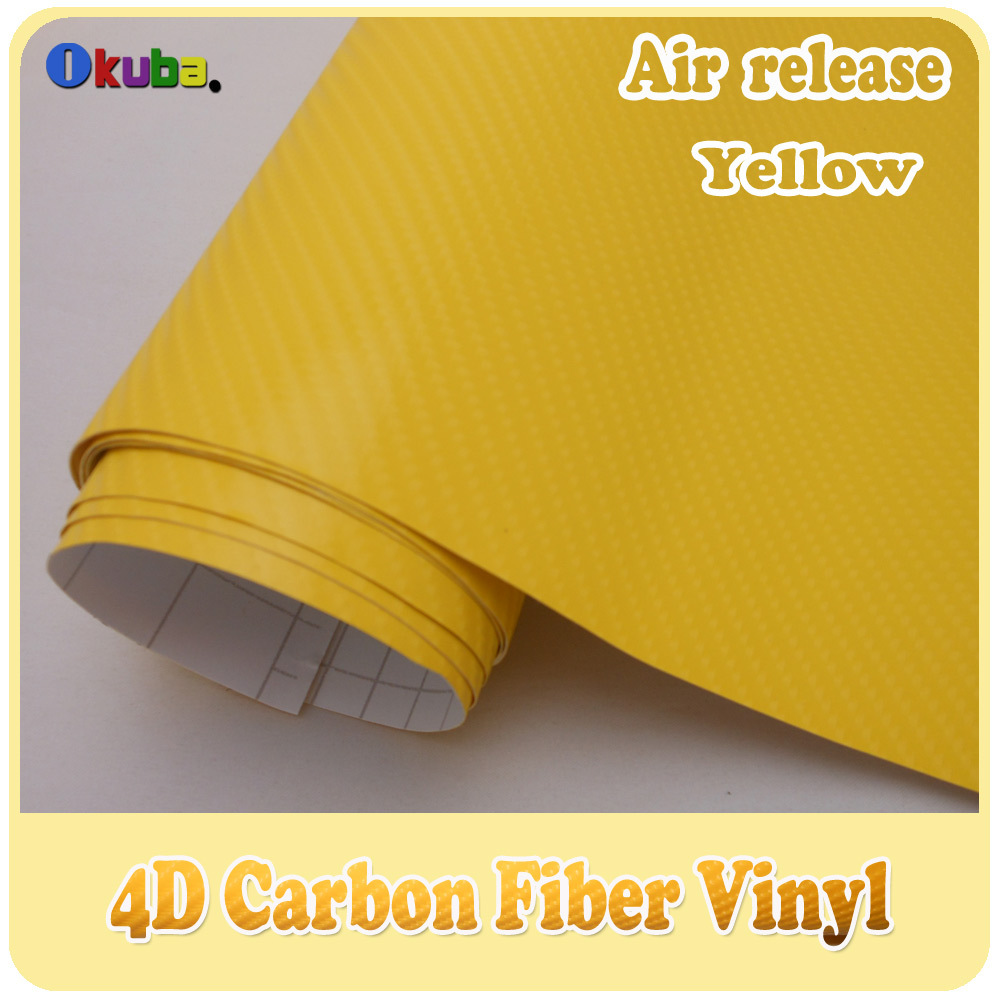 Wholesale Yellow 4D Carbon Fiber Vinyl Car Sticker Film With Air Bubble Free Size:1.52m*30m FedEx Free Shipping