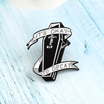 Coffin Gothic Enamel Brooch Banner IT'S OKAY TO DECAY RIP Cross Dark Bara Pins Backpack Shirt Badge Halloween Neutral Gifts image