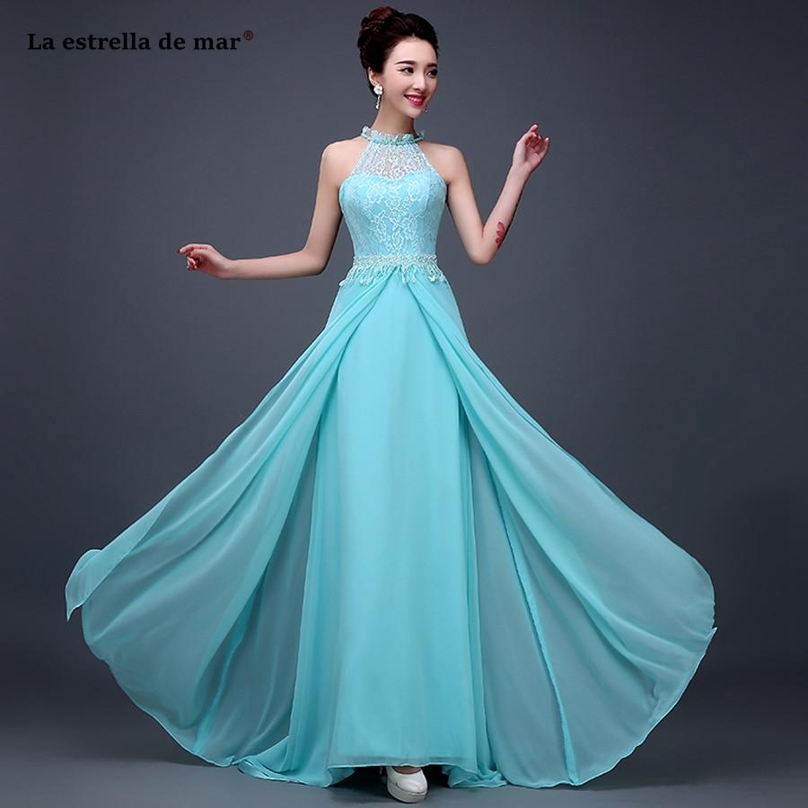 La estrella de mar vestido invitada 2019 new O neck lace chiffon back open ALine sky blue   bridesmaid     dress   long plus size