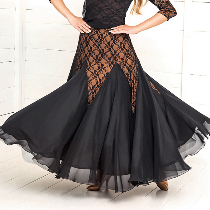 2018 New Standard Lace Ballroom Dance Skirt Waltz Tango Competition Dancing Wear For Women Long Skirts Accept Customize Size
