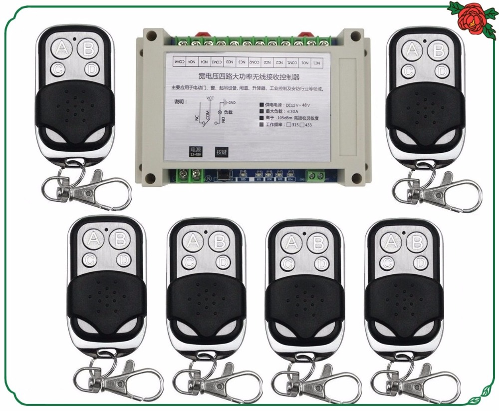 DC12V 24V 36V 48V 4CH 30A RF Wireless Remote Control Relay Switch Security System/ motor /garage door /lamp / 6pcs remote century aoke motor garage door projection screen shutters dc12v rf wireless remote control switch