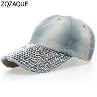 2017 Fashion Female's Baseball Caps Manual Shining Diamond Drill Denim Hats Casual Simple All-match Style 8 Colors Caps SY327